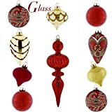 Valery Madelyn 10ct Luxury Glass Christmas Ball Ornaments Red Gold, 3.15inch-4.72inch,Themed Tree Skirt(Not Included)