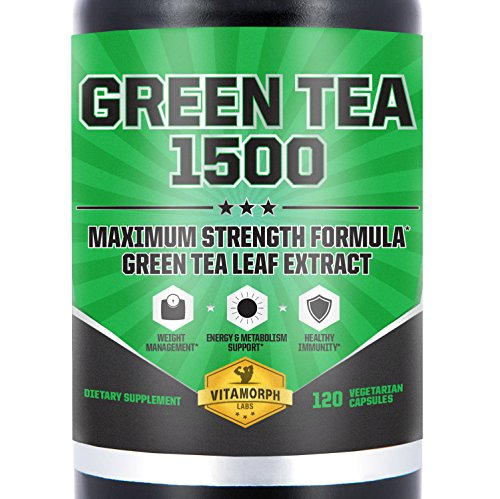 Green Tea Leaf Extract 735mg Per Serving With EGCG | Highest Potency Green Tea Extract Supplement For An All-Natural Metabolism Boost & Daily Energy | 120 Vegetarian Capsules