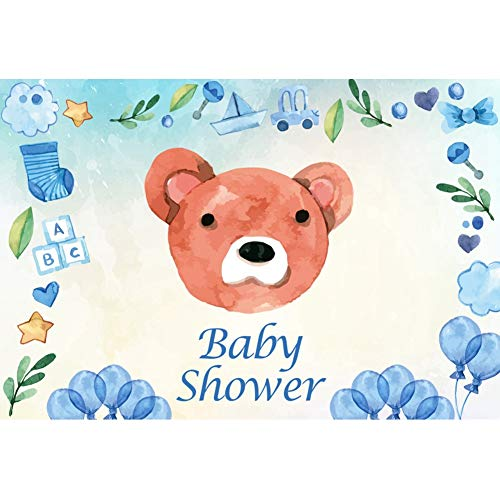 Leyiyi Cartoon Boy Baby Shower Backdrop 5x4ft Photography Backdrop Cute Bear Stock Car Boat Toy Baby Blue Flowers Green Leaves Photo Booth Props ()