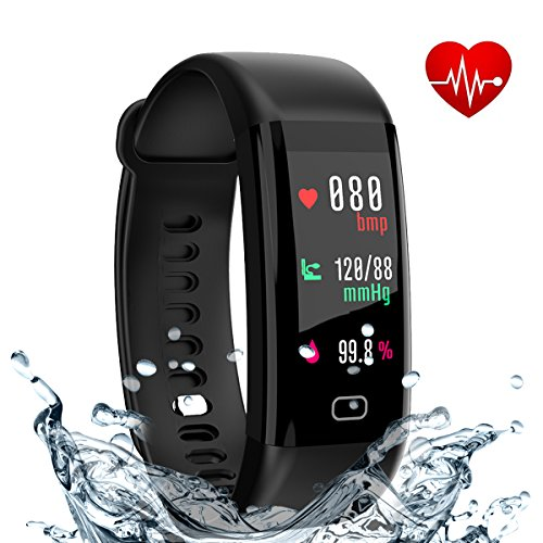 Eway Fitness Tracker, Smart Band with Heart Rate and Blood Pressure Monitor, Activity Tracker,IP67 Waterproof, Pedometer, Sleep Monitor, OLED, Bluetooth 4.0, Compatible with Android and IOS (black 1) by Eway