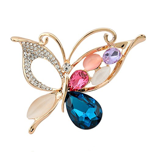 TULIP LY Butterfly Brooch Rose Gold Plated Artificial Multicolor Crystal Elegant Insect Brooch ()