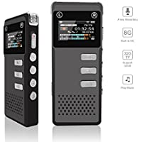 Voice Recorder, Digital Voice Recorder, soled 8G Audio Sound Dictaphone, Voice Activated Recorder, Rechargeable Recorder with Built-In Speaker, Perfect for Meeting Lecture Interviews(Support 32G Card)