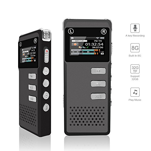 Voice Recorder, Digital Voice Recorder, KLAREN 8G Audio Sound Dictaphone, Voice Activated Recorder, Rechargeable Recorder with Built-In Speaker for Meeting Lecture Interview (Support 32G TF Card) Mp3 Wma Fm Dvr