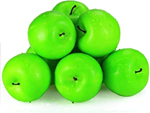 """BcPowr 12PCS Fake Fruit Apples-Artificial Fruit Plastic Lifelike Green Apples Simulation Green Apples Fake Home Display Decoration for Still Life Paintings, Storefront Decoration(Green,2.76""""x 3.54"""")"""