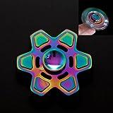 DASARA Hexagonal Alloy Hand Finger Spinner Fidget Desk Focus Toy 3D EDC Rainbow