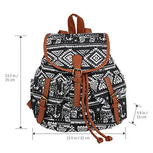 WINOMO Canvas Print School Casual Drawstring Bag Sports Camping Backpack Rucksack Elephant rwrCqag