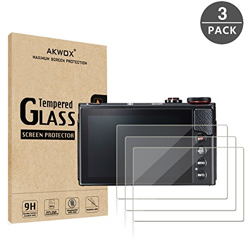 [3-Pack] Tempered Glass Screen Protector for Canon G7X Mark II G9X G9XII G7X G5X, Akwox 9H LCD Protective Cover