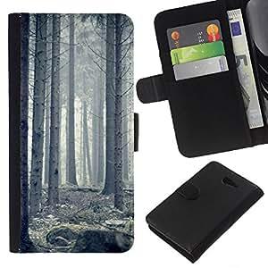 KLONGSHOP // Tirón de la caja Cartera de cuero con ranuras para tarjetas - Blanca Forrest - Sony Xperia M2 //