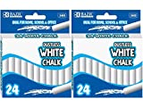 BAZIC Dustless White Chalk Kids Drawing Non-toxic Home School Office 24 per Box Durable for long-time use (2 Pack)
