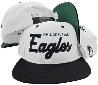 Philadelphia Eagles White/Green Script Two Tone Adjustable Snapback Hat / Cap