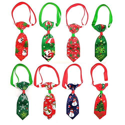 Masue Pets 10pcs/Pack Cat Dog Ties for Christmas Pet Ties Snowman Christmas Tree Dog Neckties Dog Bowties Collar Holidays Dog Ties Dog Grooming Accessories