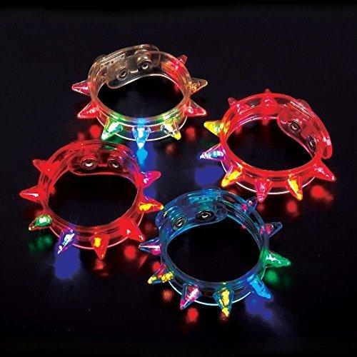 Light-up Flashing LED Spike Bracelets (2 Dozen - 24 Pcs) Good for Party Celebrate fastival event -