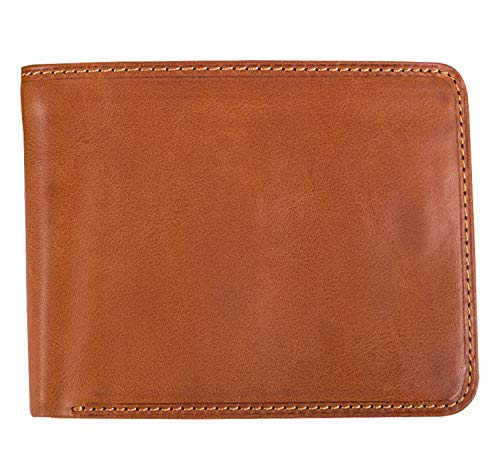 Tony Perotti Mens Italian Cow Leather [Personalized Initials Embossing] Classic Bifold Wallet with ID Window in -