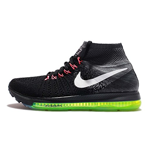Nike Women's Zoom All Out Flyknit, Black/Cool Grey/Volt/White, 8