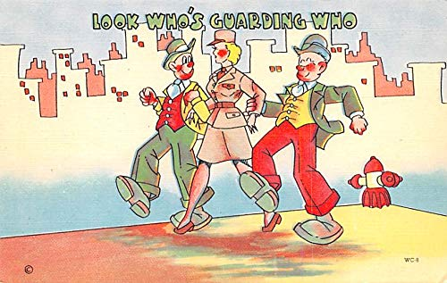 Military Comic Postcard, Old Vintage Antique Post Card Art Tone Glo War Unused
