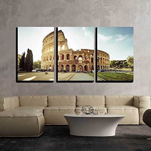 Colosseum in Rome and Morning Sun Italy x3 Panels