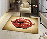 """Movie Theater Door Mat Small Rug Old Movie Camera Surrounded by Stars on Grungy Background Bath Mat for tub Bathroom Mat 16""""x24'' Pale Brown Vermilion Black"""