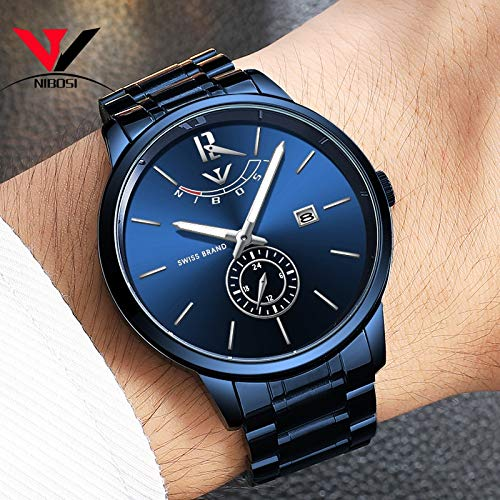 51x7pEyO07L. SS500  - NIBOSI Mens Analogue Quartz Watch with Stainess Steel Strap Top Brand Luxury Business Quartz Watch Men Full Steel Fashion Waterproof (Blue)