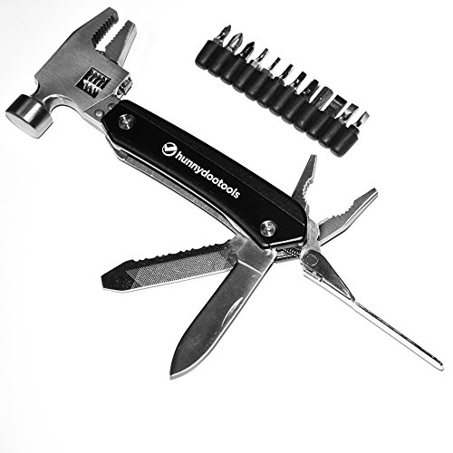 Price comparison product image HunnyDooTools Adjustable Multitool Hammer with 12 Screw Driver Bits and Sheath