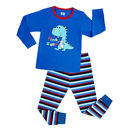 [VICVIK Baby and Little Boy Dinosaur Blue Pajama Sets 2 Piece 100% Cotton Size 2-7T (4T, Blue)] (Little Girl Skeleton Costumes)