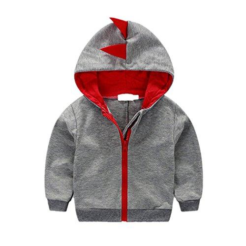 Nibox Baby Boys Long Sleeve Dinosaur Hoodies Toddler Zip-up Jacket Clothes (18-24 Months, Gray)