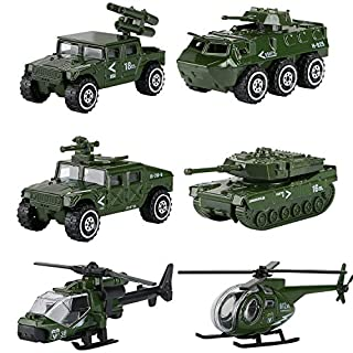 Hautton Diecast Military Toy Vehicles, 6 Pack Alloy Metal Army Toys Model Cars Playset Tank, Panzer, Attack Helicopter, Anti-air Vehicle, Scout Helicopter for Kids Boys Toddlers