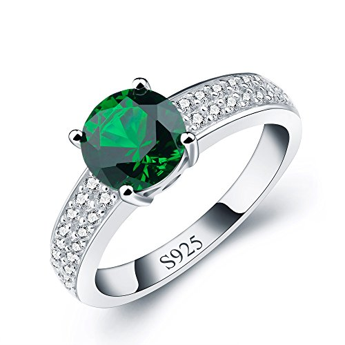 ANGG Classic Women Cushion Green Created Emerald 925 Sterling Silver Wedding Bands Rings