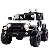 Uenjoy Ride on Cars 12V Children's Electric Cars Motorized Cars for Kids with Remote Control, 3 Speeds, Head Lights, Model HP-002, White