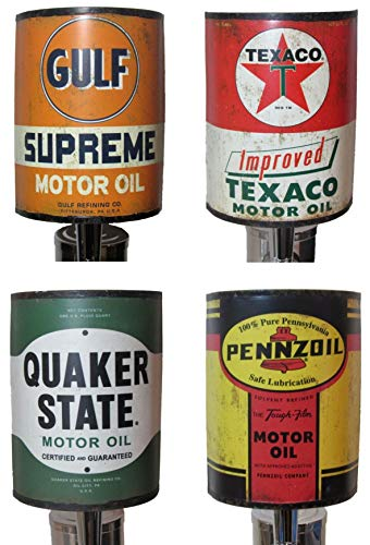 Kool Collectibles Pack of 4 Oil Can Beer Tap Handles Texaco Gulf Quaker State Pennzoil Kegerator Breweriana Bar Gift Package