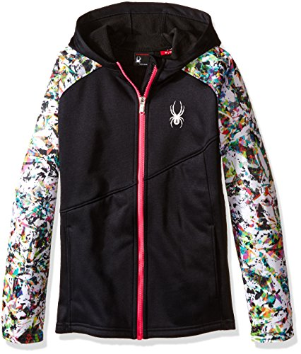 (Spyder Girls Crush Hoody Fleece Jacket, XX-Small, Black/Kaleidoscope White Print/Voila)