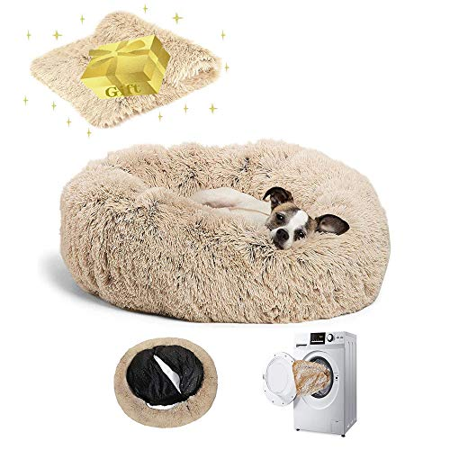 Anti Anxiety Calming Dog Bed for Large Medium,Faux Fur Round Pet bed with Removable Cover ,Machine Washable Donut…