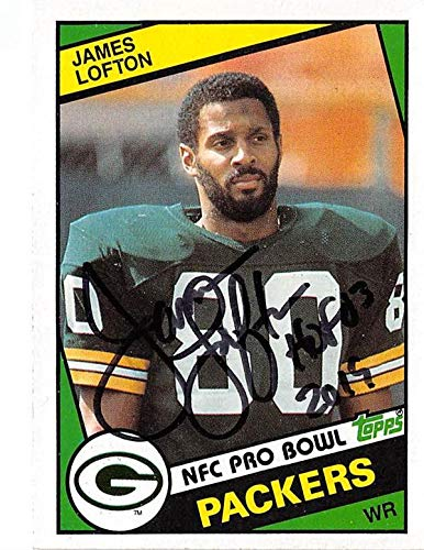 (James Lofton autographed football card (Green Bay Packers Hall of Fame) 1984 Topps #272 inscribed HOF 03)