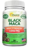 Pure Black Maca Root – 180 Capsules – Max Strength 1000mg Per Serving – Gelatinized Maca Root Extract Supplement from Peru – Natural Pills to Support Reproductive Health & Energy – Non-GMO For Sale