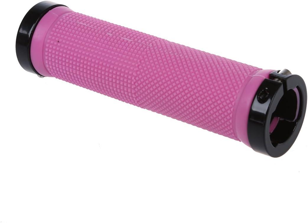 Vaorwne Double Road Mountain MTB BMX Bike Cycle Bicycle Lock on Locking Handlebar Grips Pink
