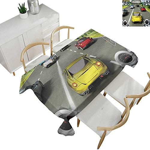 Cars,Outdoor Tablecloth Car Racing Speedy Inspired Illustration Need for Speed Road Competition Motor Sports Theme Table Cover for Rectangular Table Multi 70