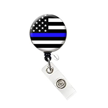 Thin Blue Line Nurse Badge Reel Retractable ID Badge Holder (Thin Blue Line  Flag Badge)