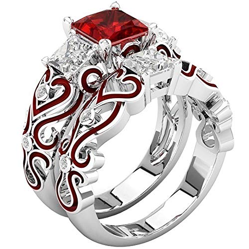 - AONEW Women Engagement Wedding Ring Set White Gold 2pcs 1.5ct Princess White Red Cz Size 5-12 Size 7
