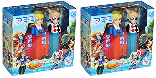 Pez DC Superhero Girls Gift Set - Supergirl and Harley Quinn