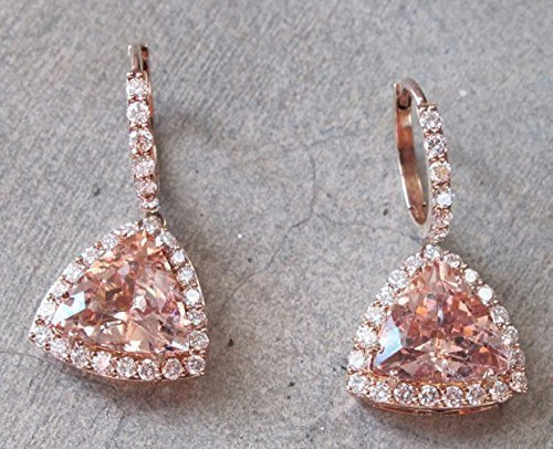 Cts 14k Diamond Earrings (Morganite Earring, Rose Gold Morganite Earrings- Halo Earring- Diamond with Morganite Earrings- 14k Rose Gold Morganite Earrings)