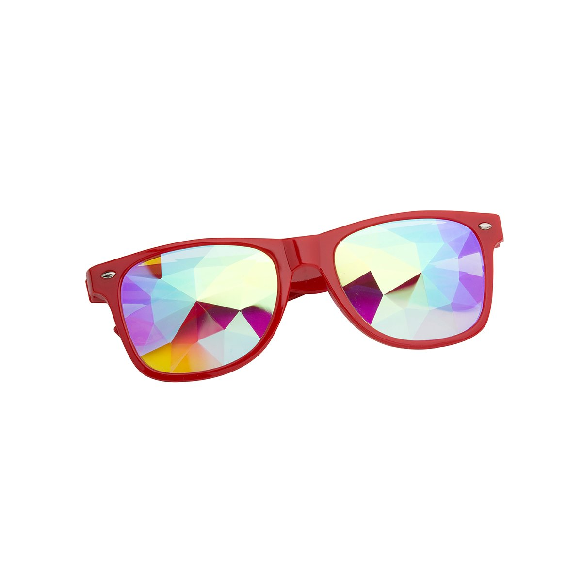 OMG_Shop Kaleidoscope Rainbow Glasses Prism Refraction Goggles for Festivals (Red-1)