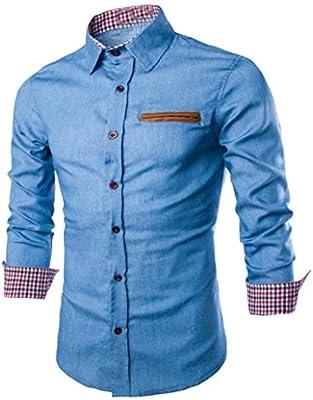 Hombre Camisa de Hombre Manga Larga Camisas de Vestir Formales Slim Fitness Tops Camisetas Blusa Camiseta Térmica de Compresió(Azul Claro, M): Amazon.es: Deportes y aire libre