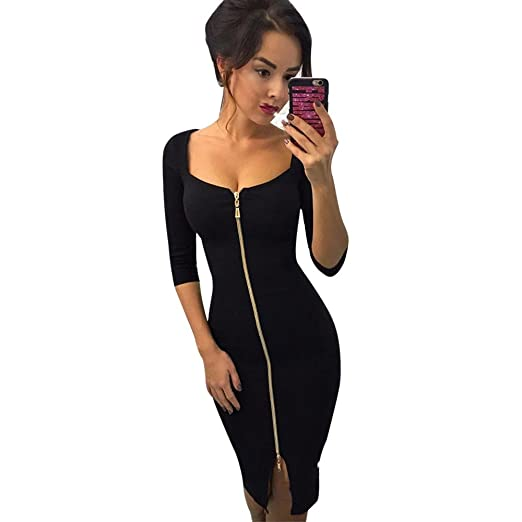 2fb444e3b8 YANG-YI Women Autumn Zipper Office Wear Dress Evening Party Dresses Black
