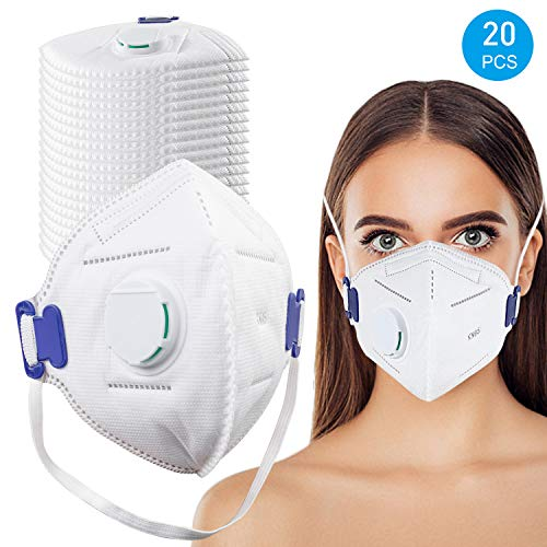 With Masks Respirator Mask For - Face Mask Dust 20 Disposable Anti-dust smoke air N95 Valve Breathing Pollution safety Pack Particulate