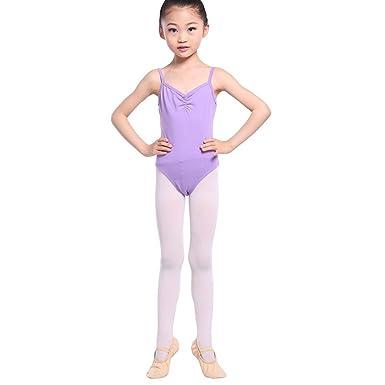 1eaa5fb1727dd Wongfon Enfant Filles Ballet Jupe Gymnastique Performance vêtements de Danse  sans Manches Pratique Collants Justaucorps Gym