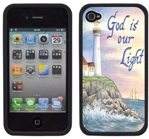 Dieu est notre Lumière | Chrétien | Fait à la main | iPhone 4 4s | Etui Housse noir