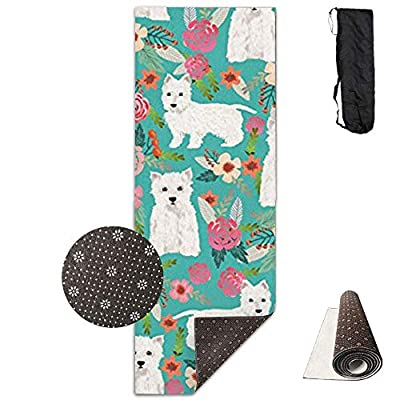Westie Florals Cute Dog,Eco-Friendly Non-Slip Yoga Mat Thick Pro Exercise and Pilates Mat with A Yoga Bag Waterproof Yoga Mats Fitness