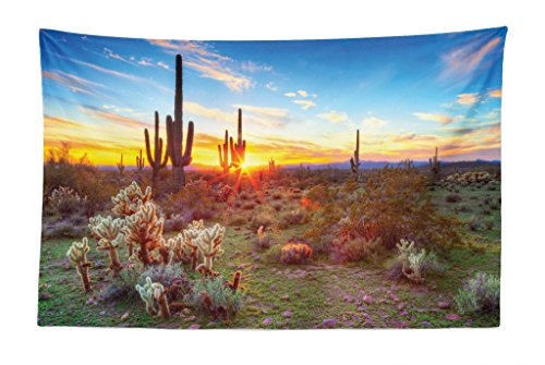 Lunarable Saguaro Tapestry, Sun is Setting Between Saguaros Wildflowers in The Sonoran Desert Scene Picture, Fabric Wall Hanging Decor for Bedroom Living Room Dorm, 45 W X 30 L inches, Multicolor]()