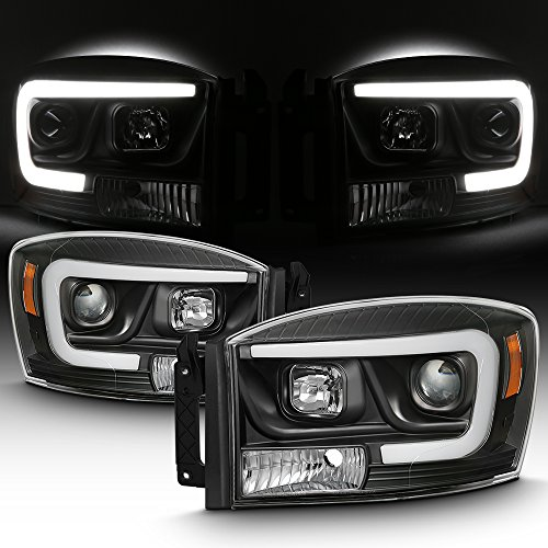 For 2006-2008 Dodge RAM 1500 & 06-09 Dodge RAM 2500/3500 LED Daytime Running Lamp Bar Projector Headlights Black Combo (Dodge Ram 2500 Halos)