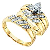 Silvernshine Jewels 1/4 Ct Marquise Cut & Round Diamond 14K Gold Fn His & Hers Wedding Ring Trio Set