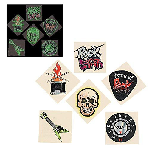Glow-in-The-Dark Rock Star Temporary Tattoos (72 Pieces) 2